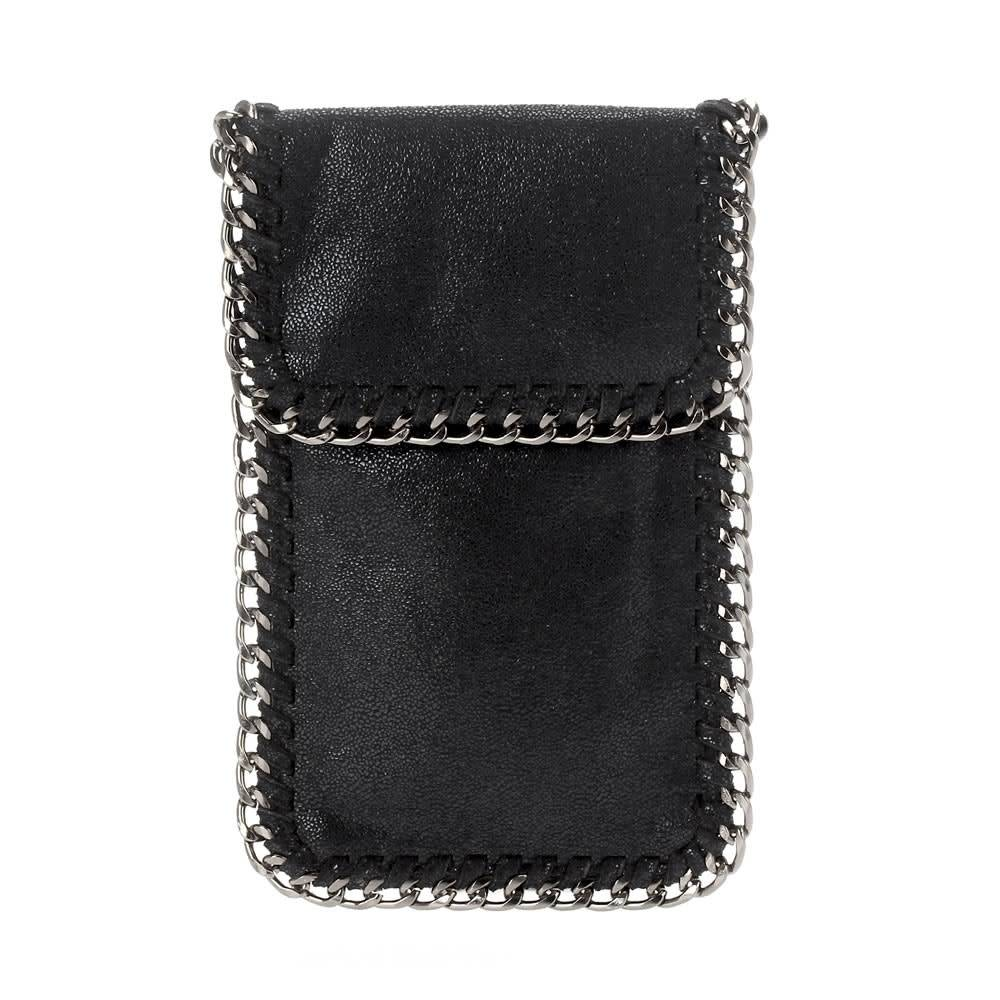 Black Fold Over Chain Phone Pouch