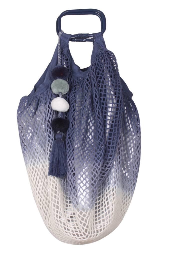 Blue Fish Net Hand Held Bag
