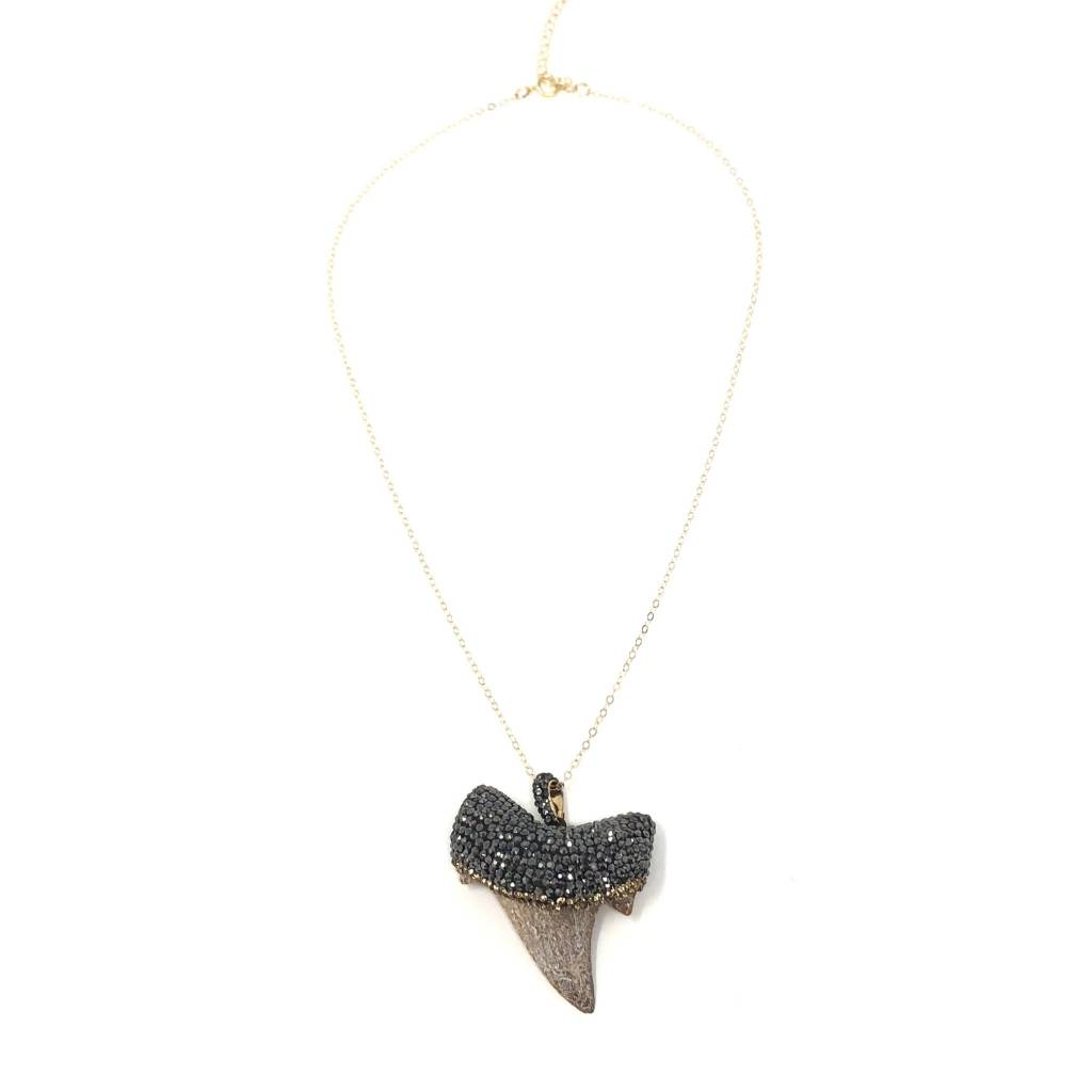 necklace sterling gold silver boutique pendant tooth shark in