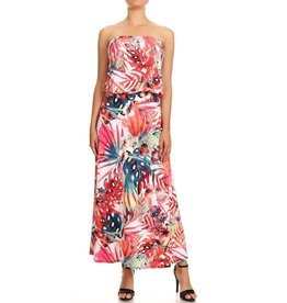 Tropical Strapless Maxi Dress