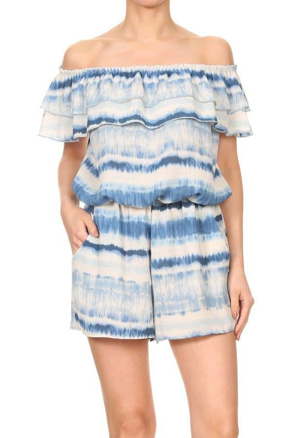 Watercolor Ruffle Top Romper