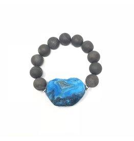 Blue & Grey Druzy Agate Bracelet
