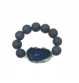 Blue Druzy Agate Slice Bracelet