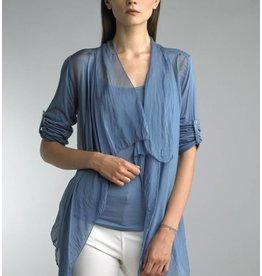 Steel Blue Short Silk Cardigan