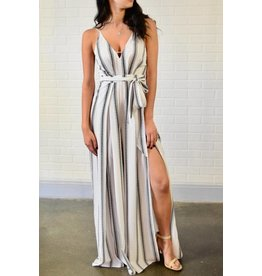 Stripe Slit Leg Jumpsuit