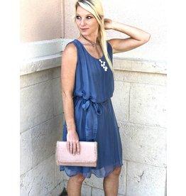 Steel Blue Silk Slip Dress
