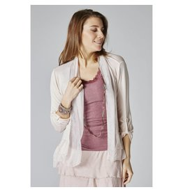 Beige Short Silk Cardigan