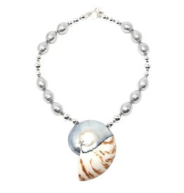 Tiger Chamber & Shell Pearl Necklace