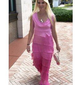 Bubblegum Ombre Flutter Maxi Dress