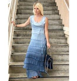 Denim Ombre Flutter Maxi Dress