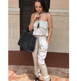 Beige Silk Strapless Jumpsuit