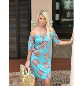 Coral Print Bonnie Dress