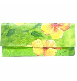 Hand Painted Clutch Yel. Hibiscus