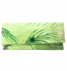 Hand Painted Clutch Green Fronds