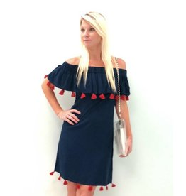 Navy/Red Tassel Monica Dress