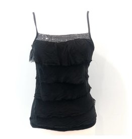 0cfb2ffffd5 Black Silk Sequin Layer Tank