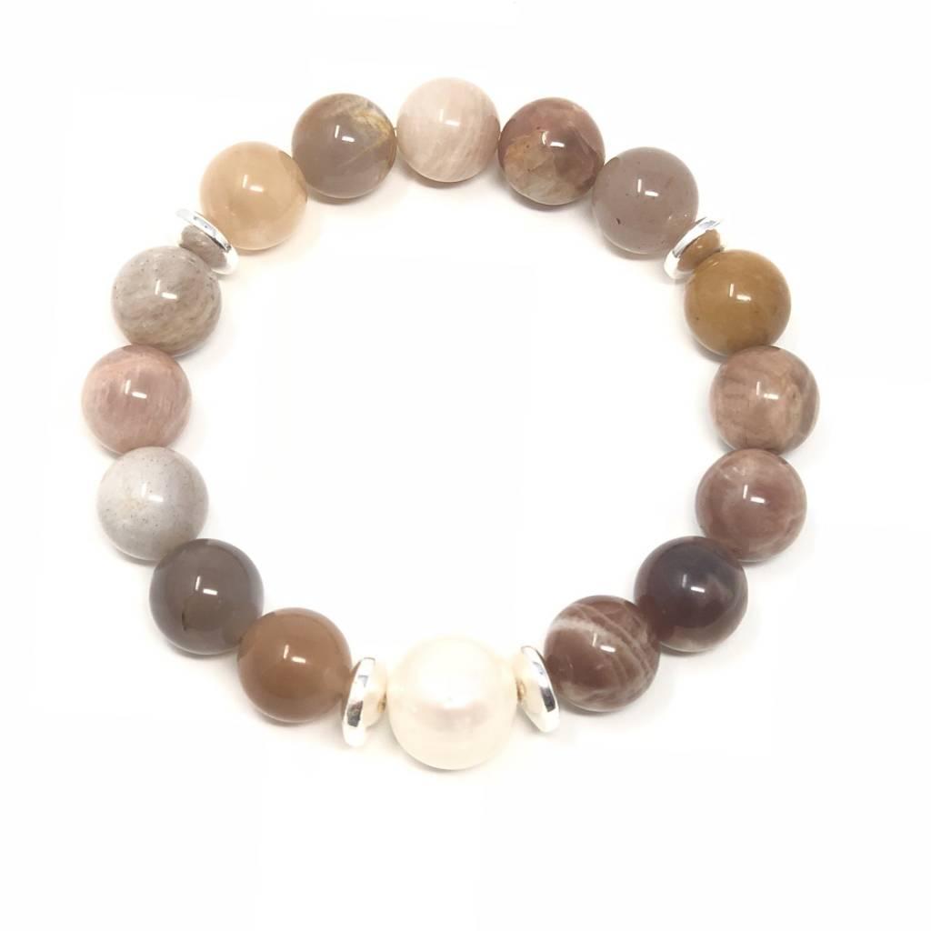 Peach Moonstone & FWP Bracelet