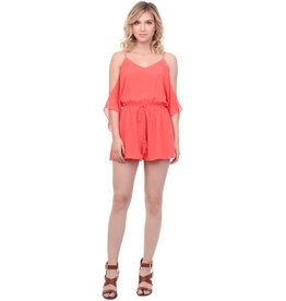 Coral Cold Shoulder Romper