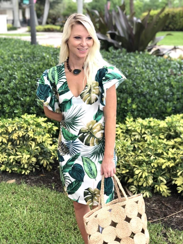 White Tropical Tie Dress