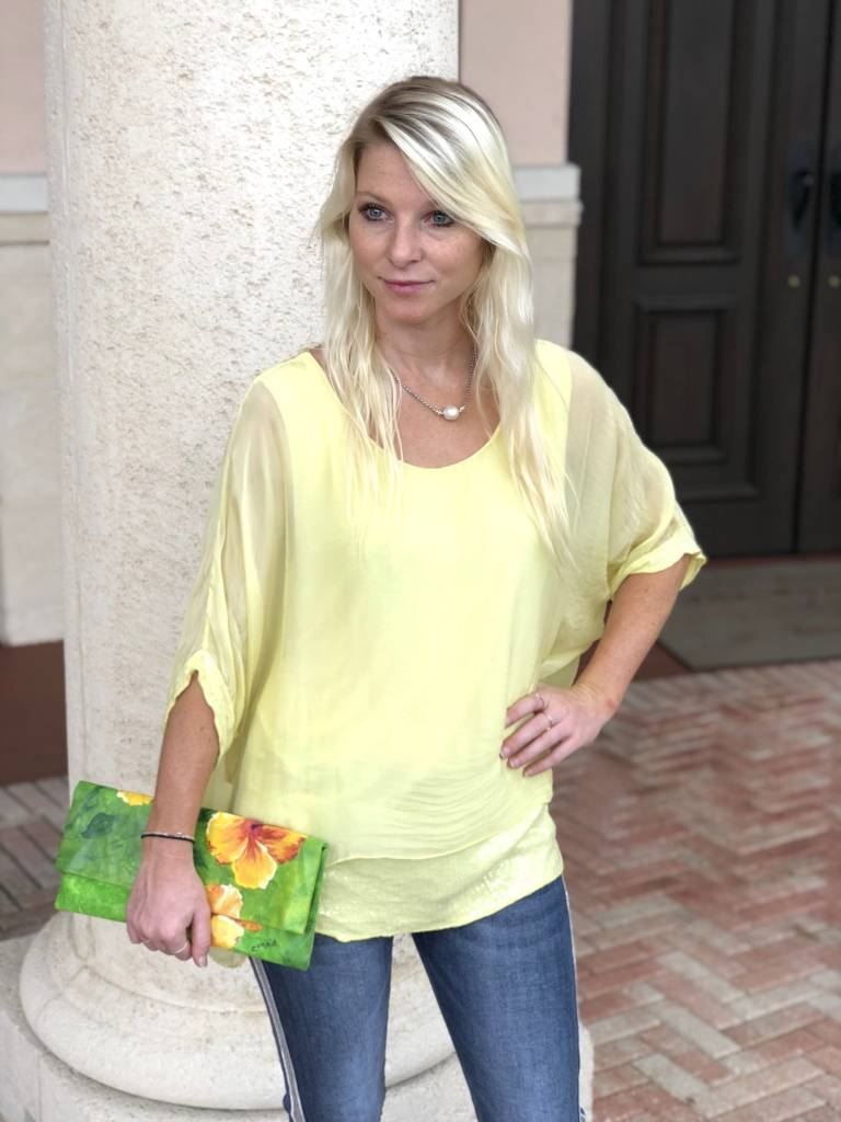 Lemon Silk Sequin Layer Top