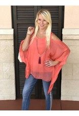 Coral Silk C/S Top