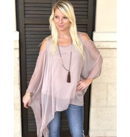 Dusty Rose Silk C/S Top