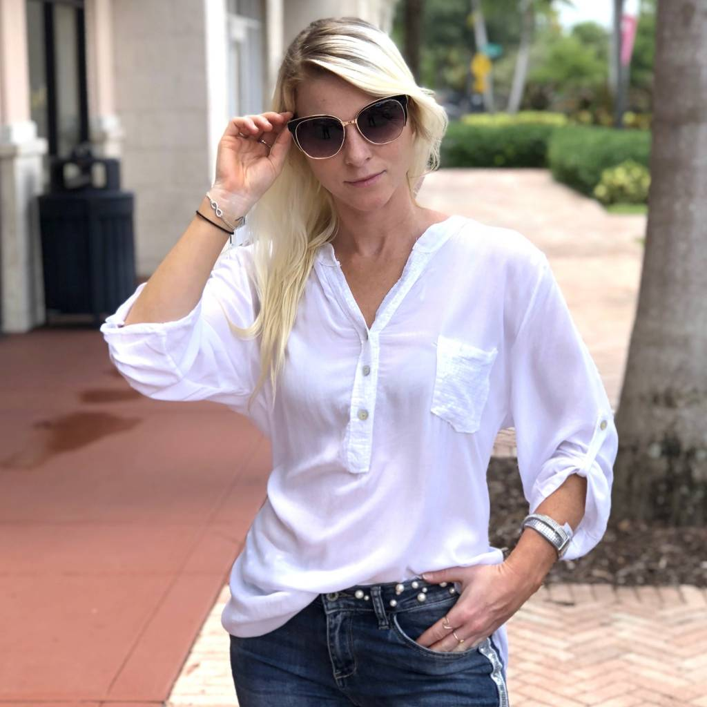 White Sequin Pocket Top