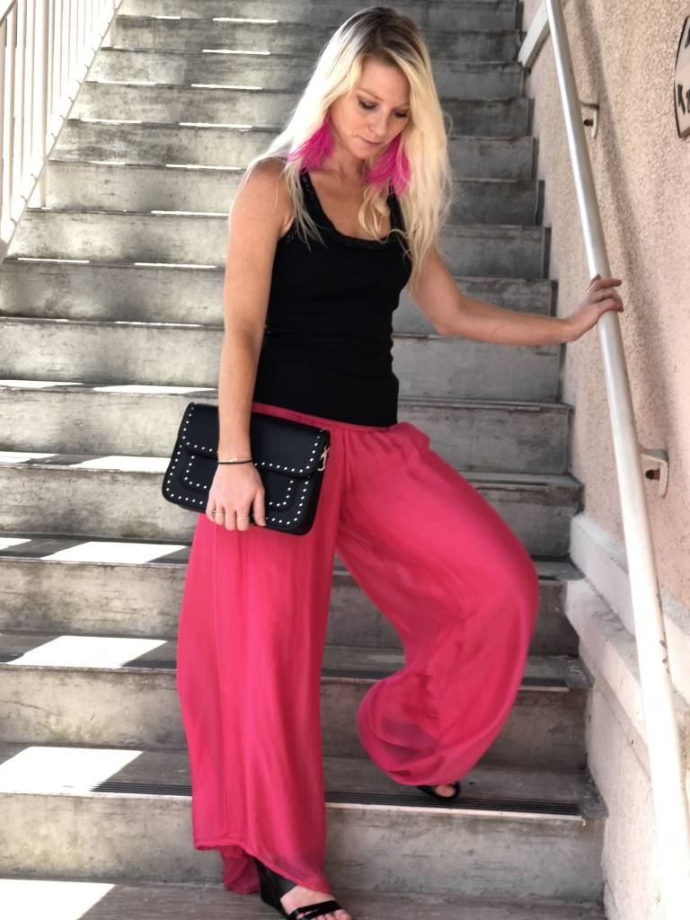 Hot Pink Silk Lined Pants