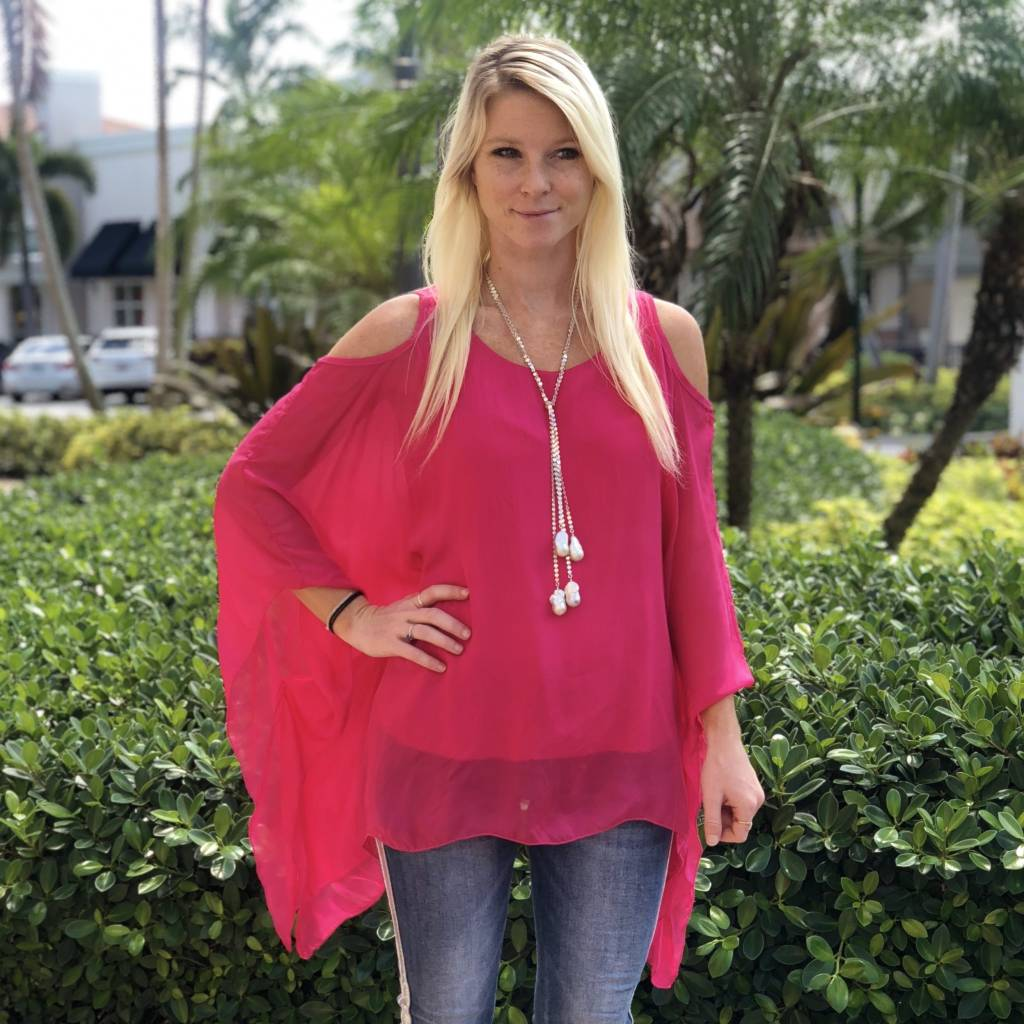 Hot Pink Silk C/S Top