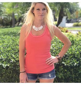 Coral Sequin Racer Tank