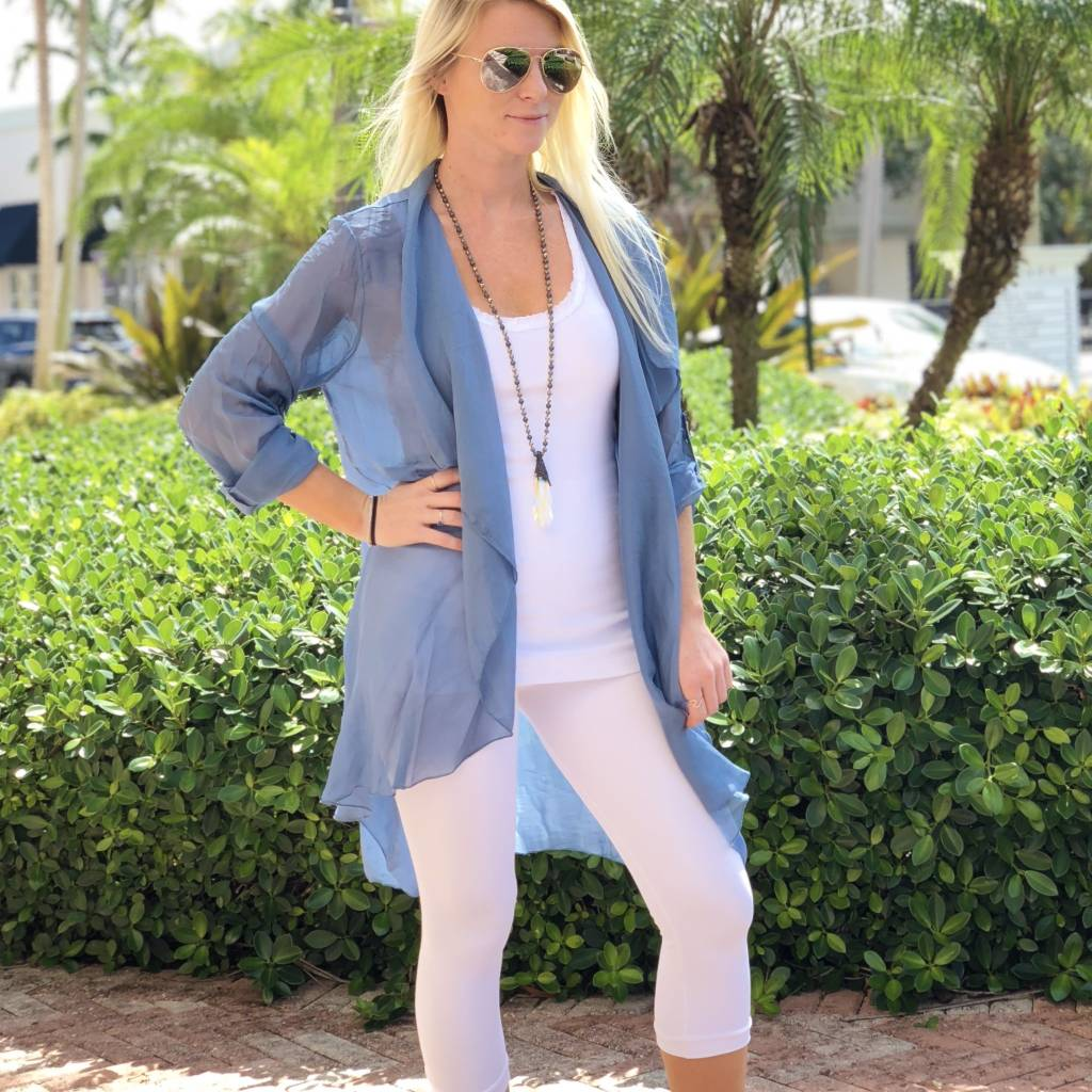 Steel Blue X-Long Cardigan