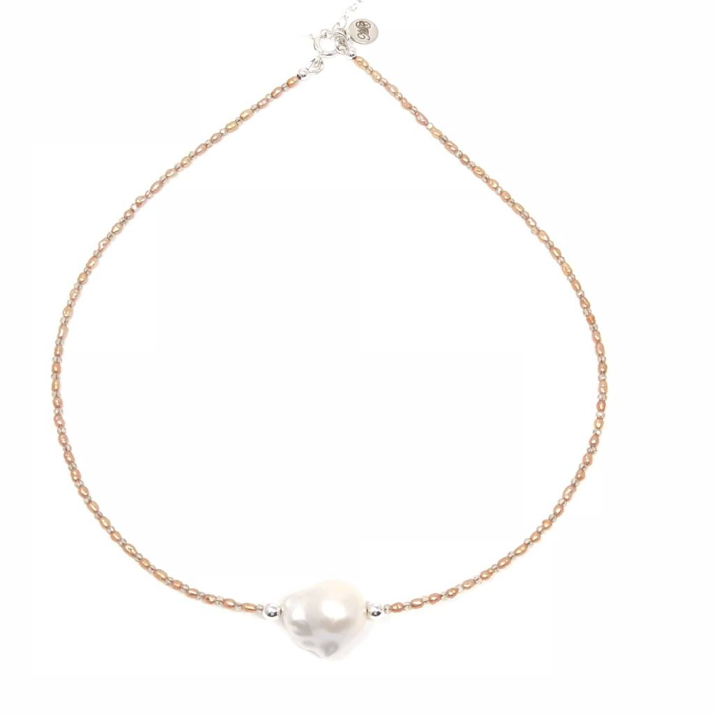 Peach Rice & Baroque Pearl Necklace