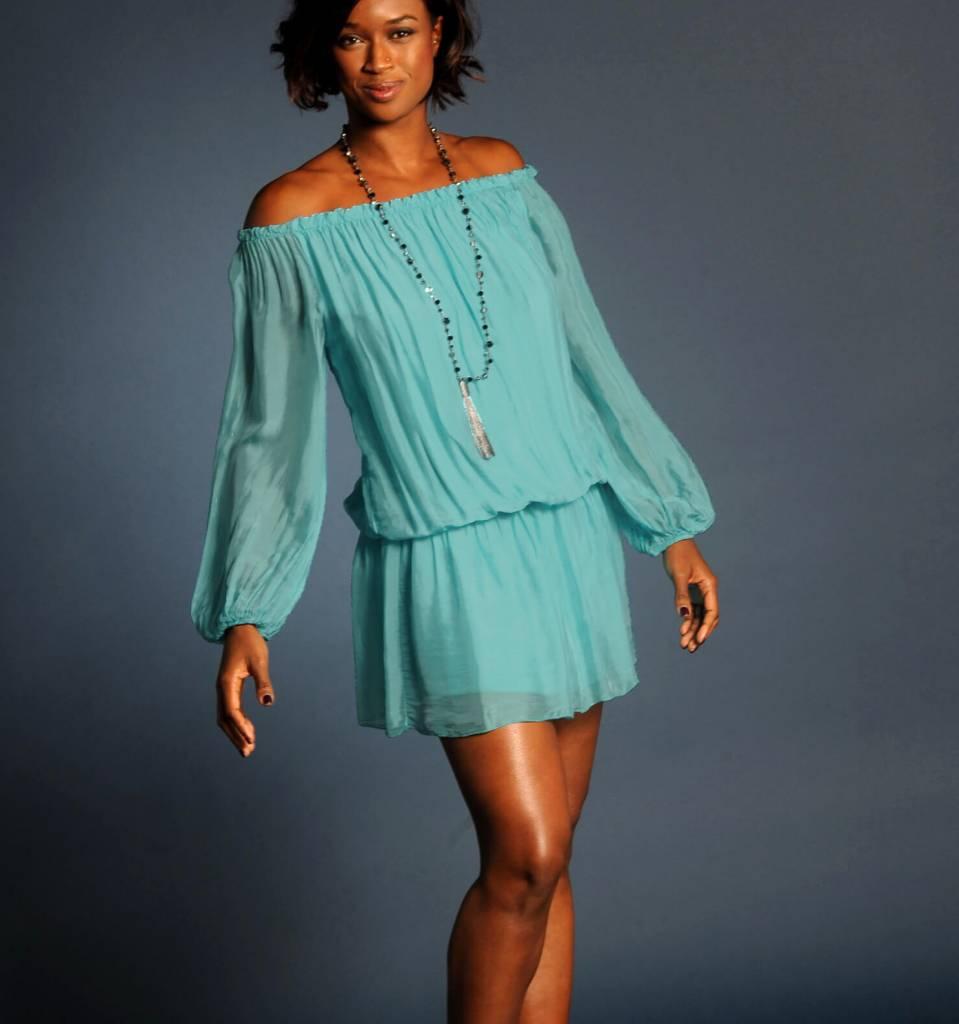 Teal Silk Mini Dress