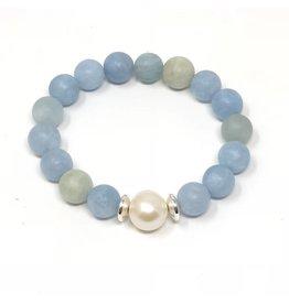 Matte Aquamarie & Pearl Bracelet