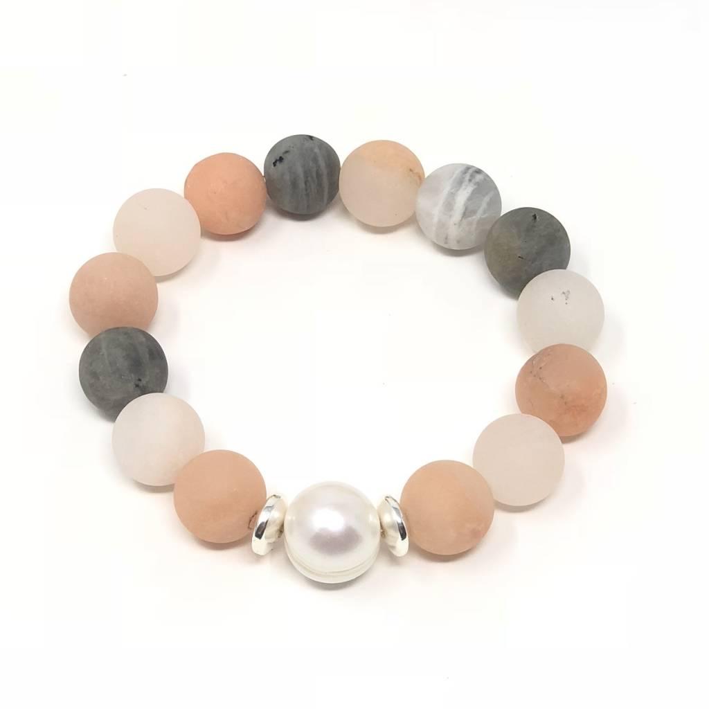 Lg. Matte Pink Moonstone & Pearl