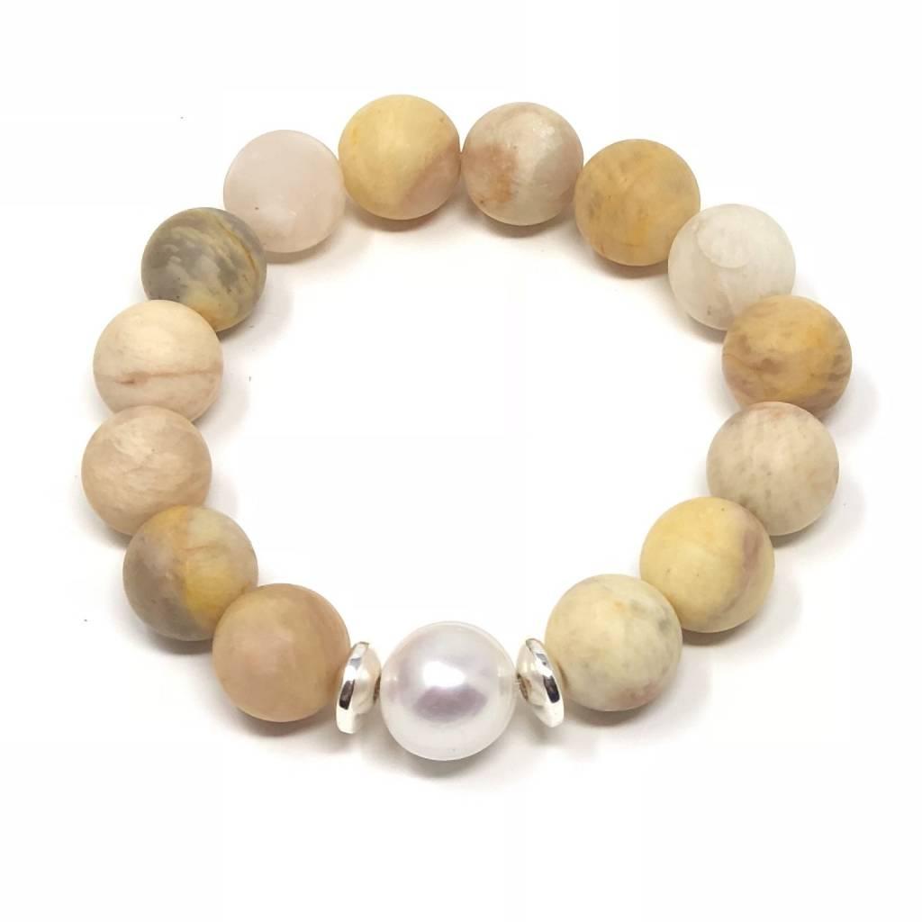 Matte Yellow Agate & Pearl Bracelet
