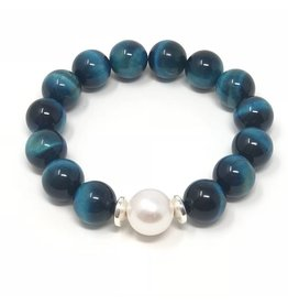 Blue Tiger Eye & Pearl Bracelet