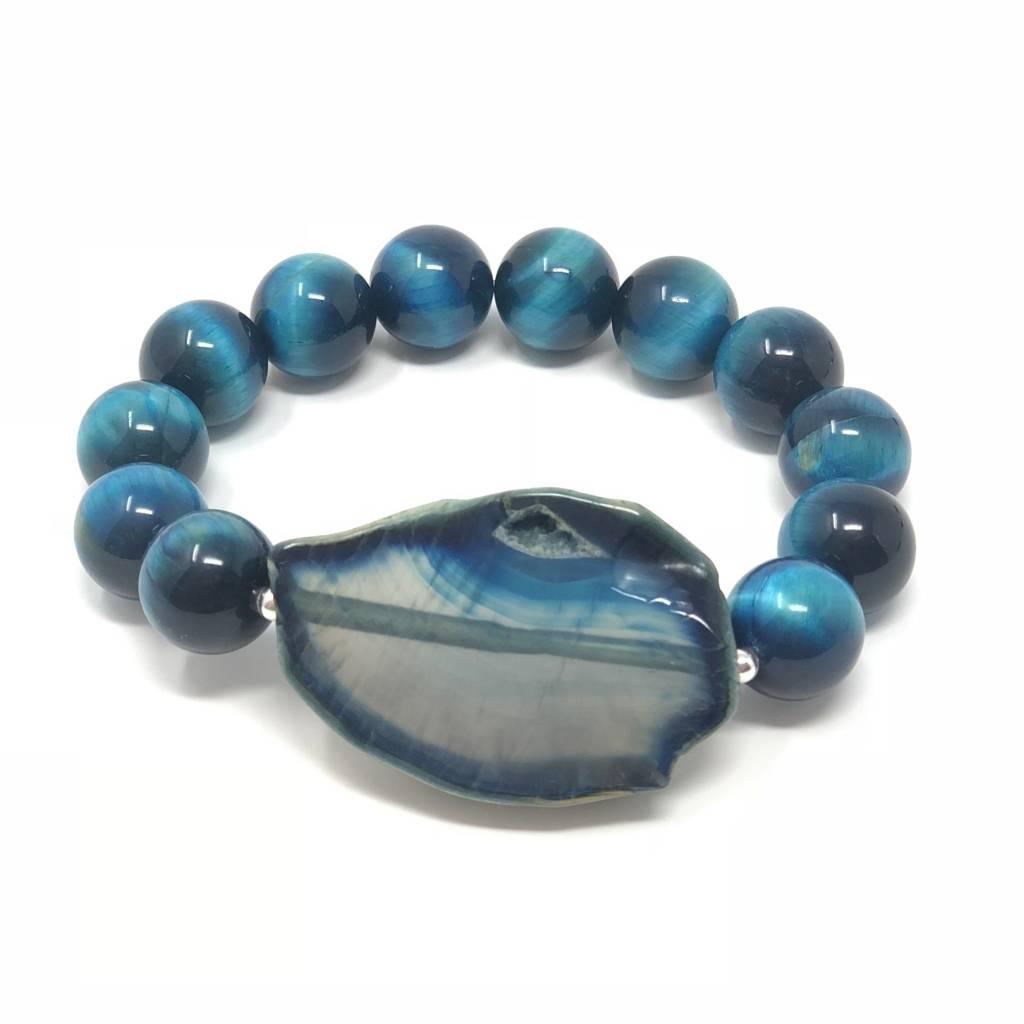 Blue Tiger Eye & Agate Bracelet