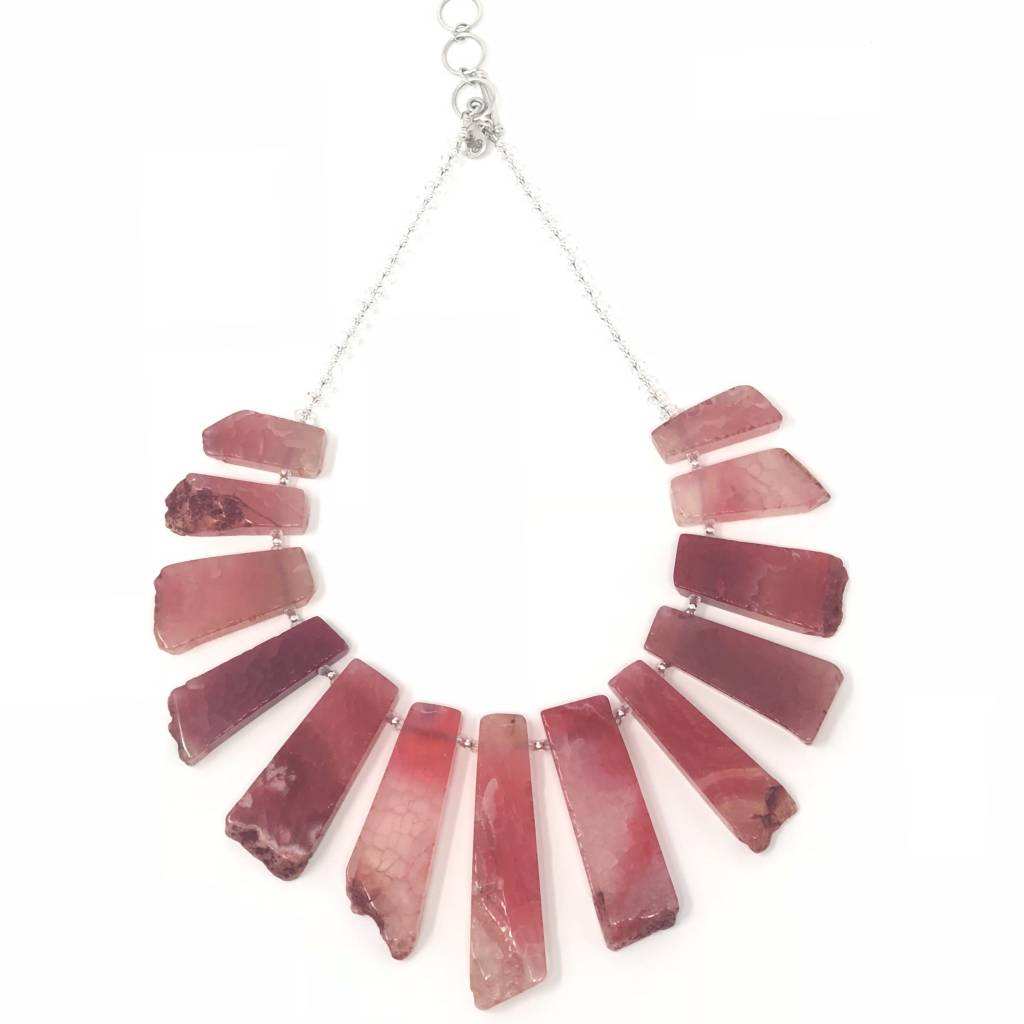 Fuchsia Agate & Quartz Necklace