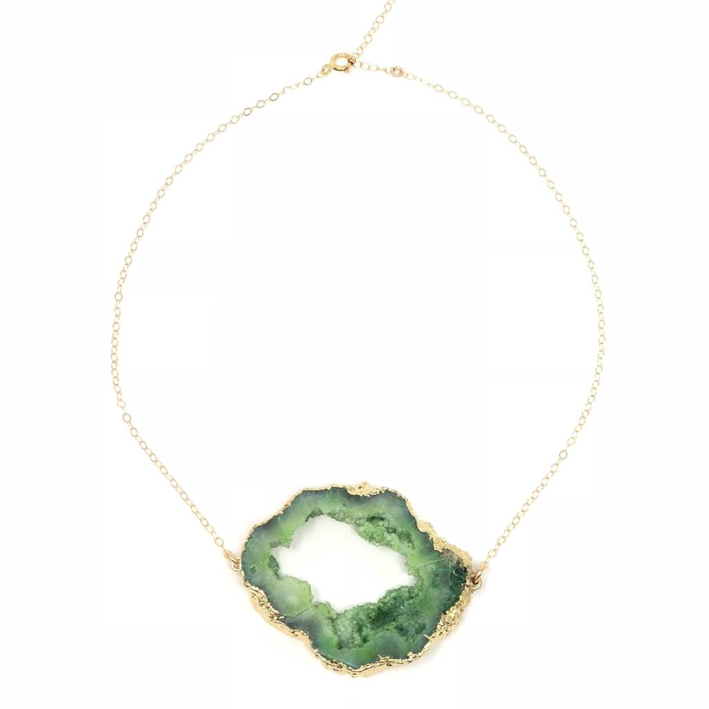 Green Agate Slice on GF Chain