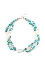 Amazonite, Pearl & Quartz Necklace