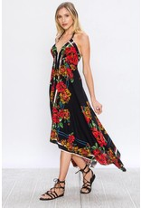 Blk Floral Handkerchief Dress