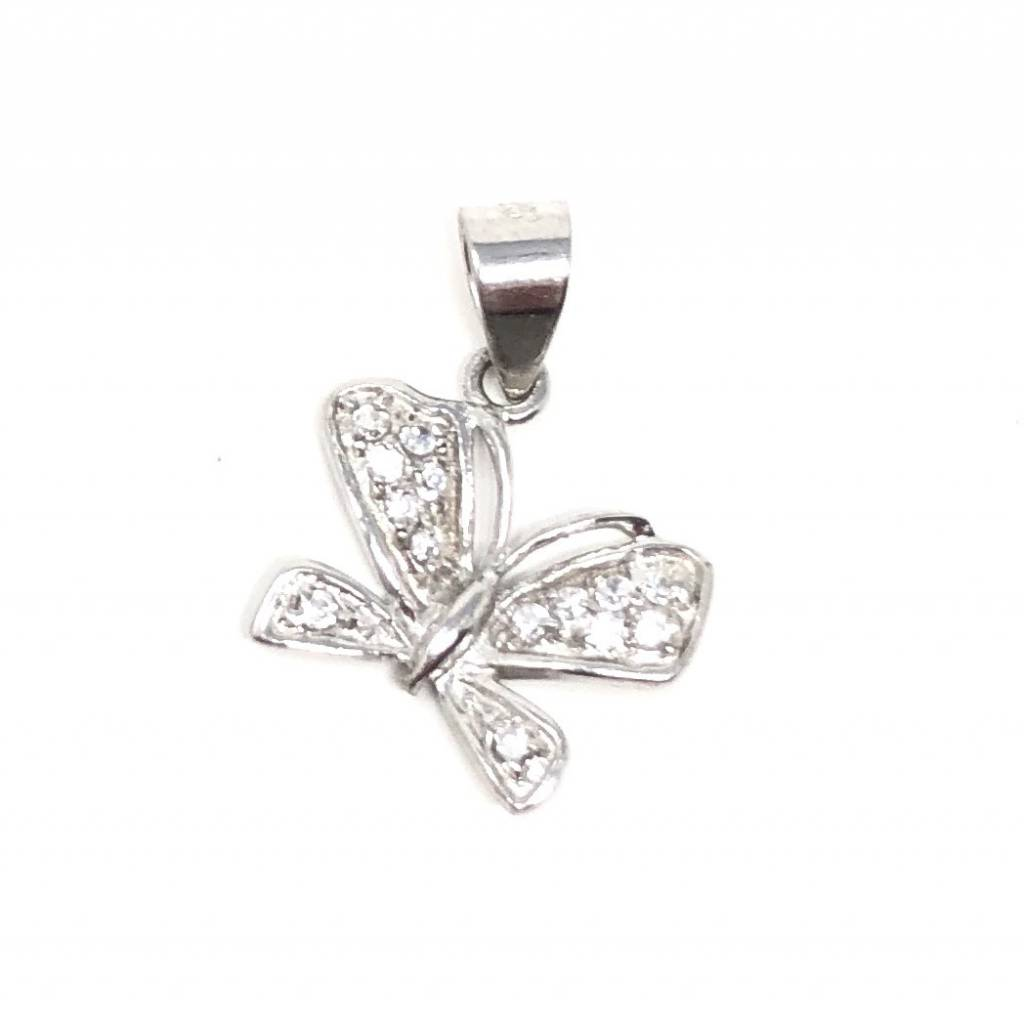 Solid CZ Butterfly Pendant