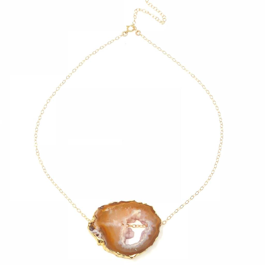Yellow Agate on Gold Filled Chain