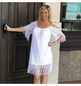 White C/S Lace Fringe Dress