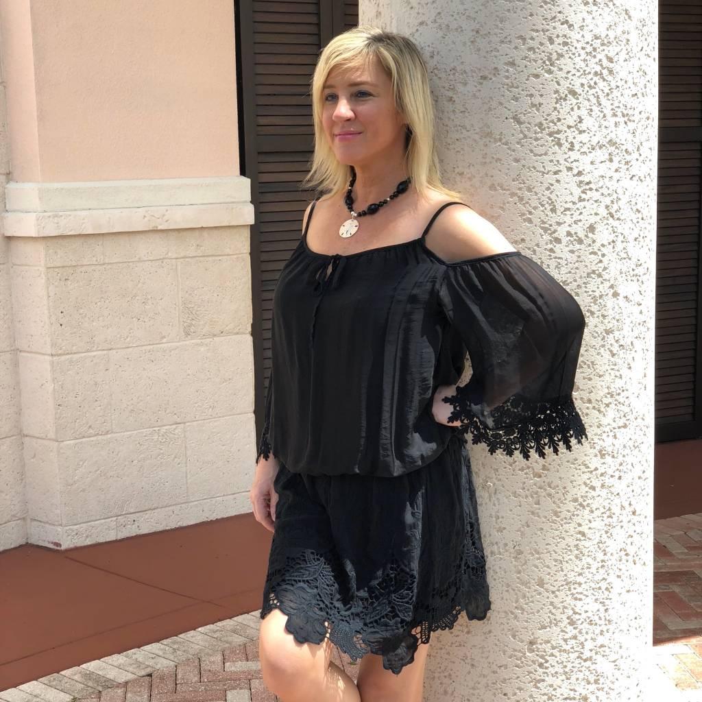 Black C/S Crochet Silk Dress