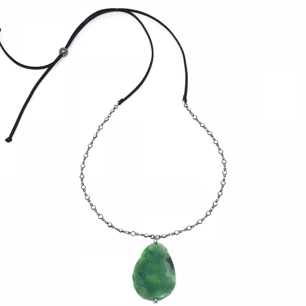 Green Agate on CZ Chain & Suede