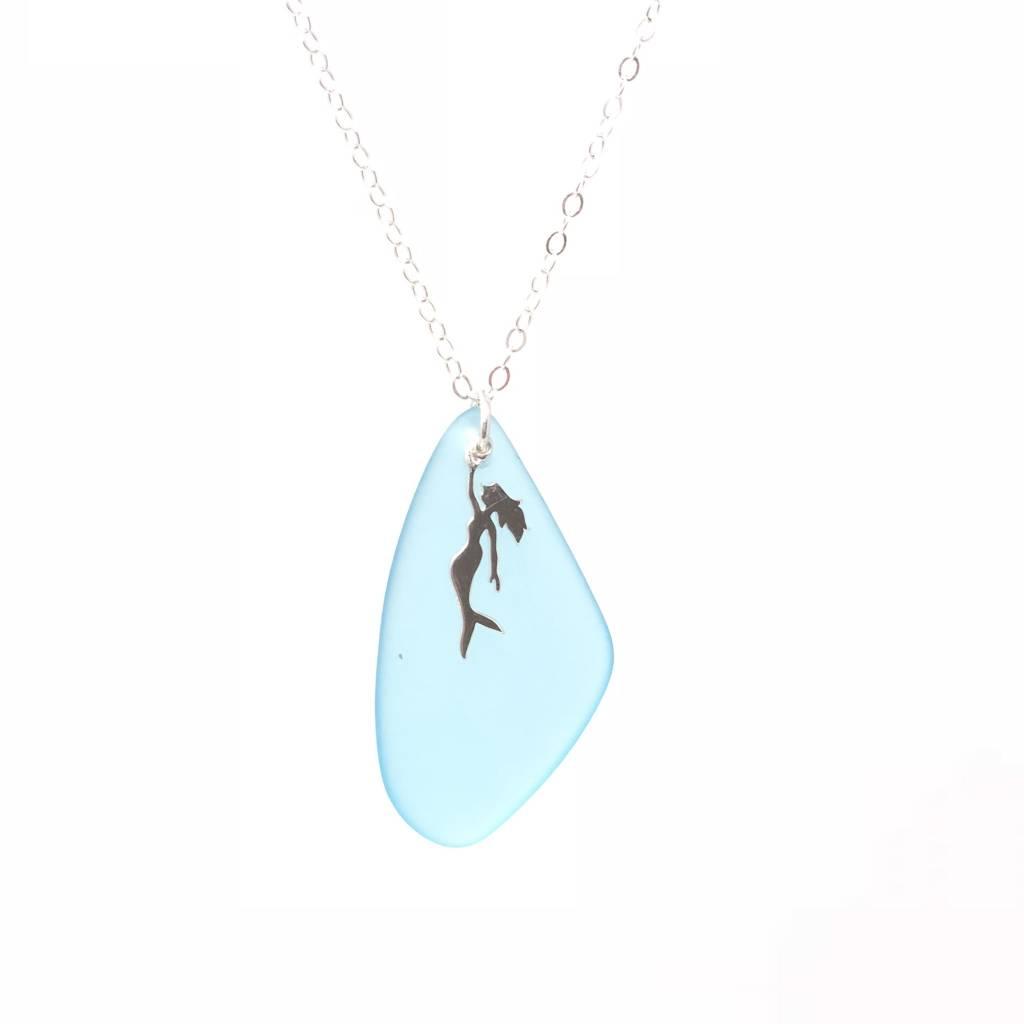 Large Blue Seaglass Mermaid Pendant