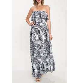 Maya Palm Strapless Maxi