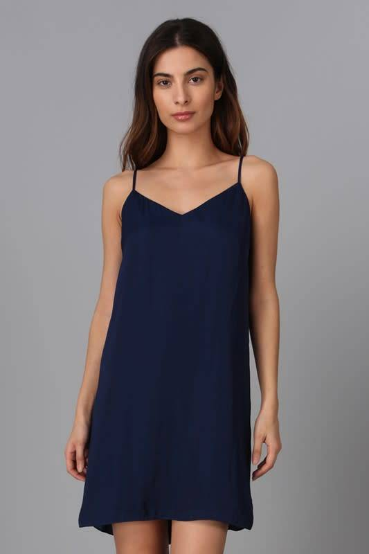 Navy Cami Strap Tie-Back Dress